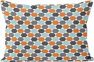 Gygarden Hot Lumbar Gray Orange Aqua Blue Geometric Hexagon Hidden Zipper Home Decorative Rectangle Throw Pillow Cover Cushion Case 12x24 Inch One Side Design Printed Pillowcase