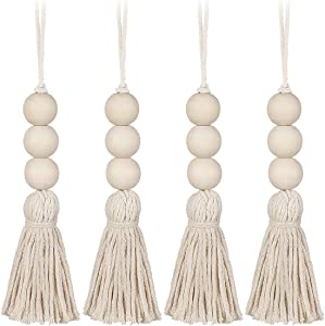 Garneck Wood Bead Garland,Farmhouse Tassels Beads, Rustic Country Decor Prayer Beads for Home Door Knob Christmas Decoration (1 Pack) (1pack) (4pack)