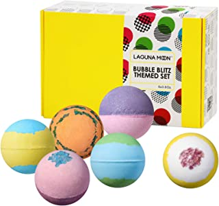 """Lagunamoon Bath Bombs Gift Set""""Don't Worry,Be Happy"""" Pack of 6 Natural Organic Handmade Fizzy Bath Bombs with Essential Oi..."""