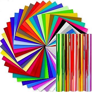 Vinyl Sheets, Ohuhu 50 Permanent Adhesive Backed Vinyl Sheets Set, 40 Vinyl Sheets + 5 Holographic Opal Vinyl Sheets +5 Tr...
