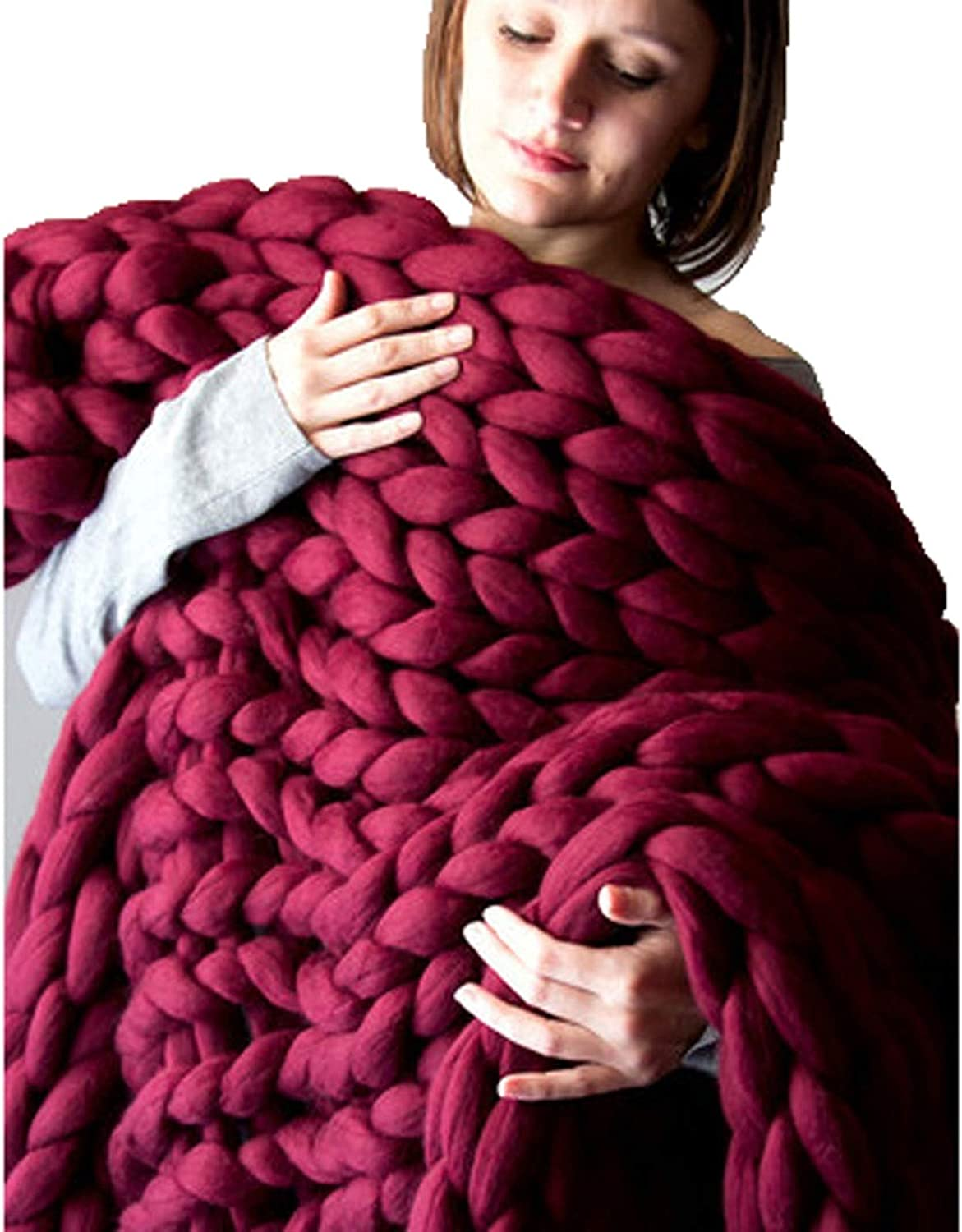 Ranking TOP9 Fees free Chunky Knit Blanket - Grey Multicolor Throw