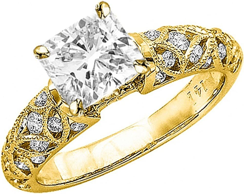 1.04 Ctw Limited price sale 14K White Gold Vintage Filigree Milgrain Ce wholesale GIA Channel