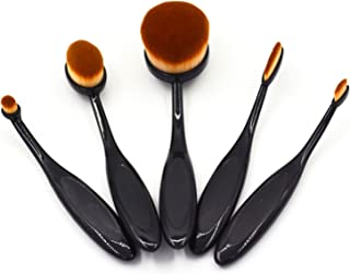 Makeup Brushes Foundation Brushes 5 Pieces Oval Makeup Brush Set (Features Powder, Concealer, Contour, Foundation, Blendin...