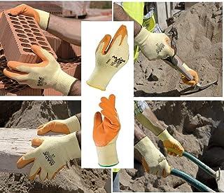 TITAN 328 Heavy Duty Builders Gloves Natural Latex, Work Site, Workman, Construction, Warehouse, DIY Orange/Yellow Size 10...