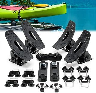 WilTec Portakayak Profesional para Techo 4 Uds. Soporte baca Kayak Embarcación Piragua Tabla Sup Tabla Surf