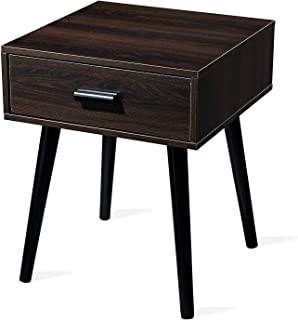 TianLang Modern Accent Table and Nightstand, Wooden End Table with Drawer, Cabinet for Storage,Side Table for Small Spaces, Wood Look Accent Table with Solid Wood Legs, Brown
