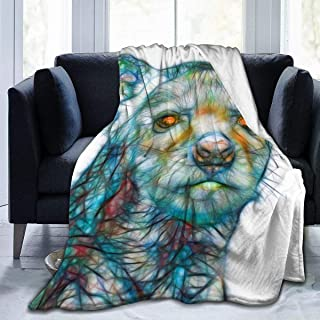 REMEE Flannel Fleece Throw Blanket,Fractal Illustration Young Spotted Hyena Warm Cozy Perfect Throw for All Seasons for Couch Bed Sofa 80''X60''