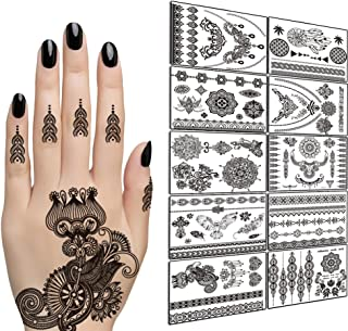 TAFLY Lace Black Chains Tattoo Waterproof Body Henna Transfer Tattoos Stickers for Women & Girls -150 Designs Bracelets,Necklaces,Tribe,Totem,Wing etc 10 Sheets