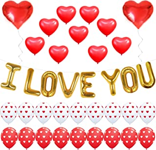 I Love You Balloons - Valentine Balloons Kit, Pack of 35 - Valentines Day Balloons - Heart Print Latex Balloons - Valentines Day Decorations - Heart Foil Balloon Red and White Valentines Balloons