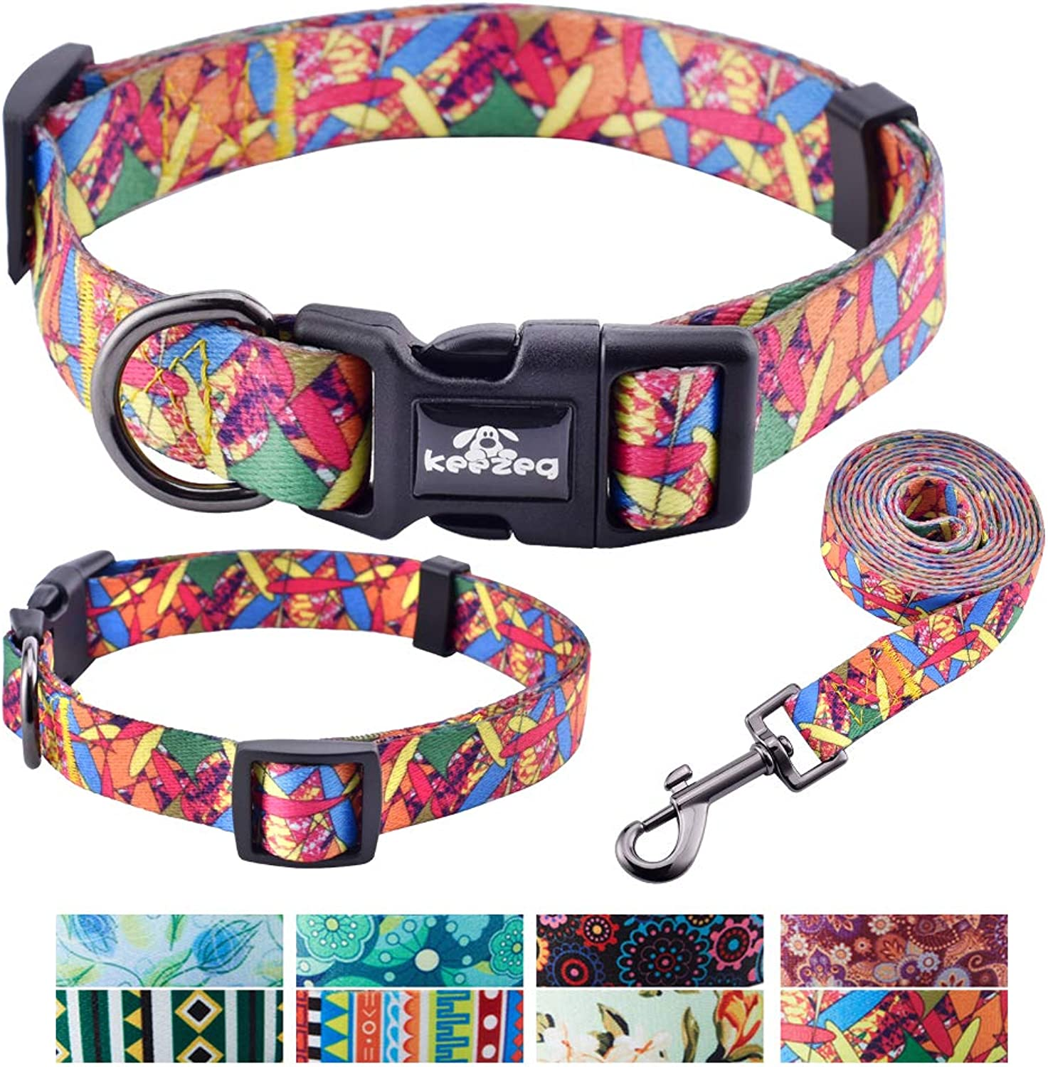 Keezeg Dog Collar Leash Set, Adjustable Collars for Dogs Small Medium Large, Durable and Comfort (XLarge, Forest color)