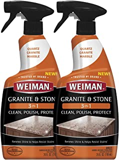 Weiman Granite Cleaner and Polish - 2 Pack - 24 Ounce - Streak-Free, pH Neutral Formula for Daily Use on Interior and Exte...