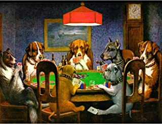 Leyzan 5D Full Drill Diamond Painting by Number Kits The Lamp and The Dog Playing Cards, Paint with Diamonds Arts Embroidery DIY Craft Set Arts Decorations(12x16 inch)