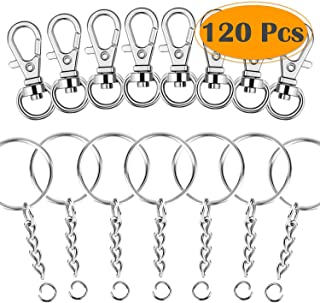 Selizo 120Pcs Swivel Snap Hook and Key Rings with Chain for Keychain Lanyard