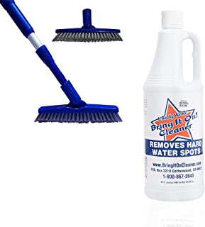 Bring It On Cleaner 32 Ounce Plus Unique Grout Scrubber Power Brush | Scrub Away Dirt and Grime From Tile and Grout With Ease