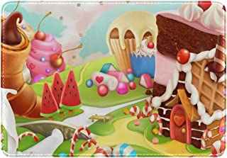 Mydaily Sweet Candy Land Cartoon Leather Passport Holder Cover Case Protector