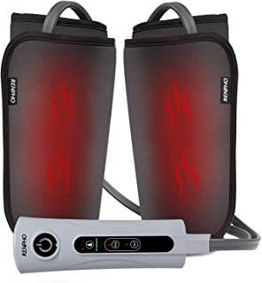 RENPHO Leg Foot and Calf Massager Machine with Heat, PU Leather Material Makes It Easy to Clean, Compression Massage for Relaxation Muscles, Helps Poor Circulation