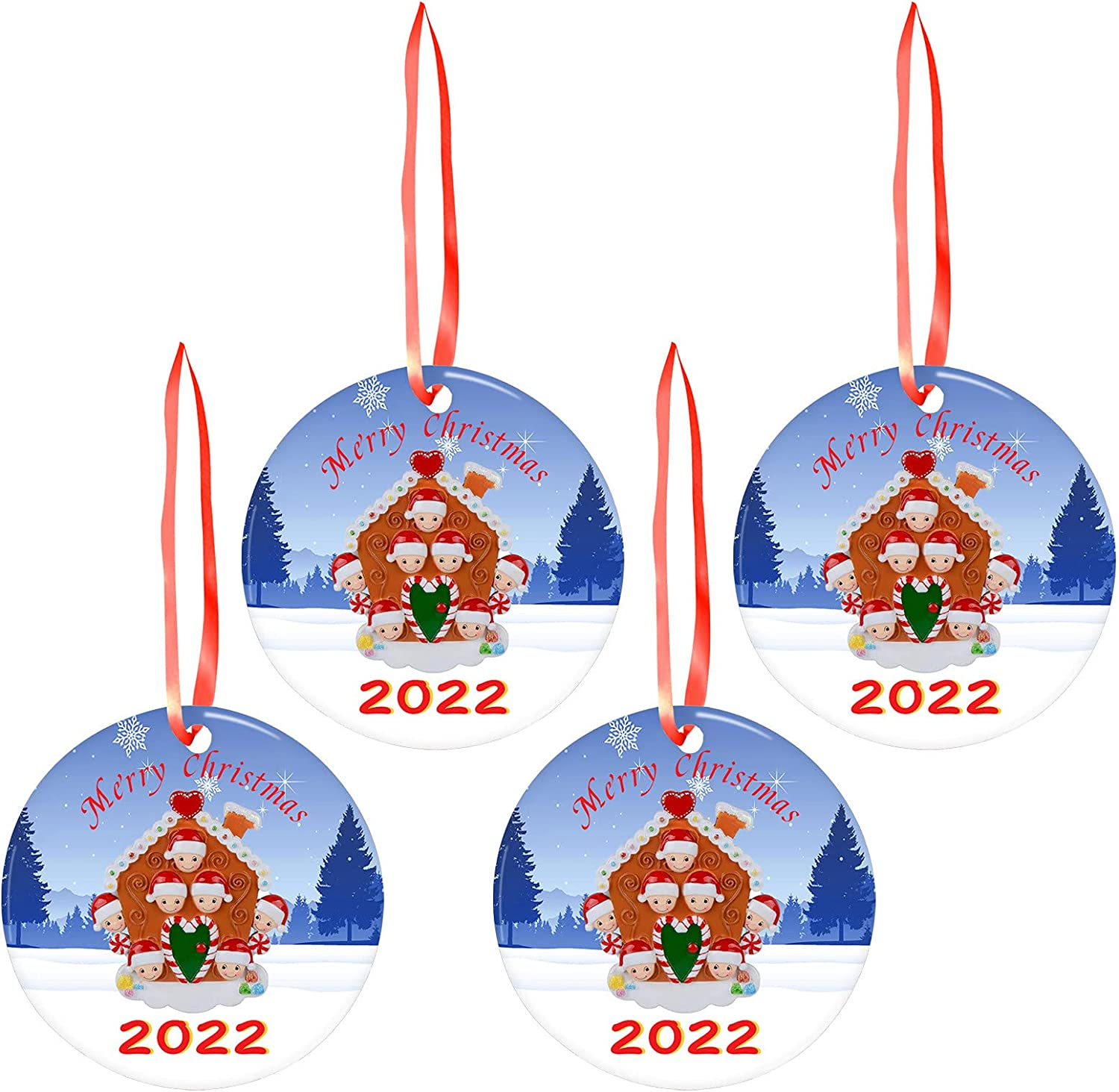 Free shipping anywhere in the nation Nuanshu Christmas Max 76% OFF Tree Decorations House P Print Round
