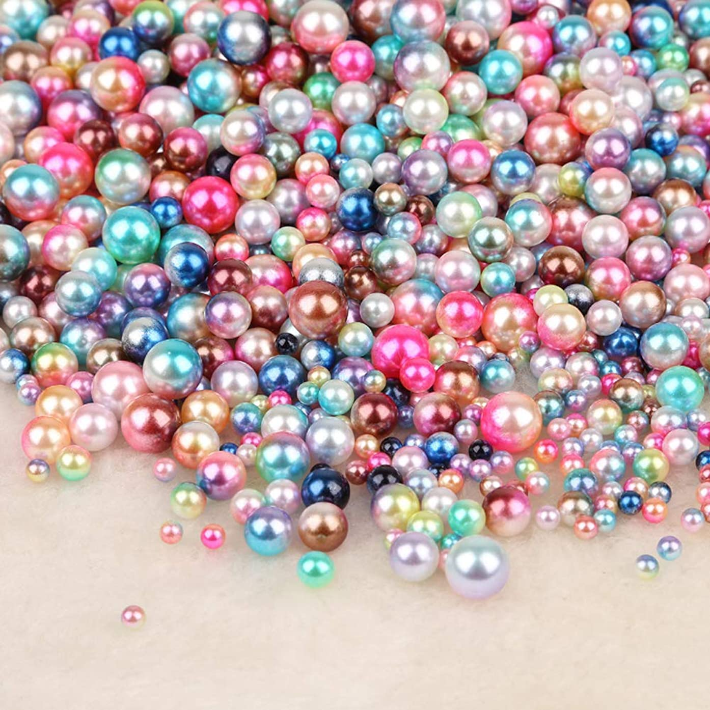 ABS Colorful Acrylic Round Beads Imitation Faux Pearls String NO Hole 4-10MM Mixed Color for Craft DIY Jewelry Making (8MM Mix Color(About 450pcs))