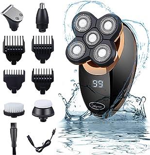 Maquinilla De Afeitar, Afeitadora Corporal EléCtrica Para Hombre Impermeable, Glynee 5 en 1 USB Recargable Húmedo & Seco Afeitadora de Cabeza Calva Cortapelos Recortador de Barba
