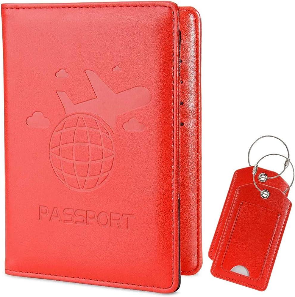 Cocases portafoglio porta carte di credito con protezione rfid in pelle CO-pspt-red