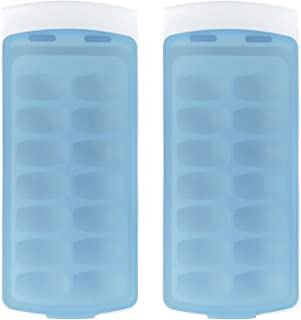OXO Good Grips No-Spill Ice Cube Tray with Silicone Lid, 8.8 oz, White/Blue (Set of 2)