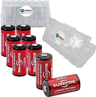 8 Pack Surefire CR123A Lithium Battery 3v with 2 LightJunction Battery Cases