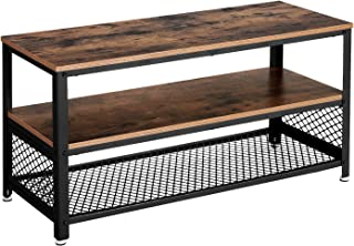 VASAGLE Bryce TV Stand for TVs up to 43 Inches, Storage Console with Metal Shelf, Easy Assembly and Sturdy Design, Adjustable Feet, 39.4 x 15.7 x 20.3 Inches, Industrial, Rustic Brown ULTV40BX