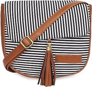 Sakwoods Women Printed Canvas Black Stripes Sling Bag