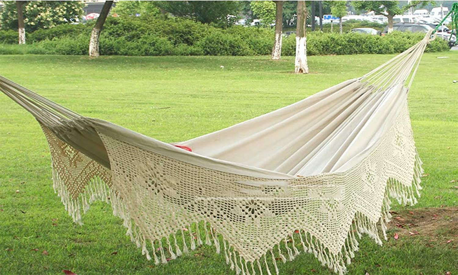 Camping HammockLightweight Portable Hammock, Cotton Belt Tassel Double for Camping Travel Swing Beach Indoor Size 260  160CM