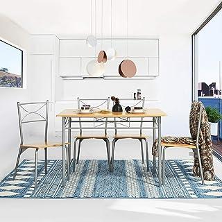 Yata Home Mesa de salón Comedor Conjunto de Mesa y 4 sillas de Comedor set de 1 mesa y 4 sillas con soporte