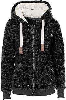 Women's New Hooded Sherpa Jacket Women Casual Winter Warm Soft Teddy Coat Zip Up Hooded...
