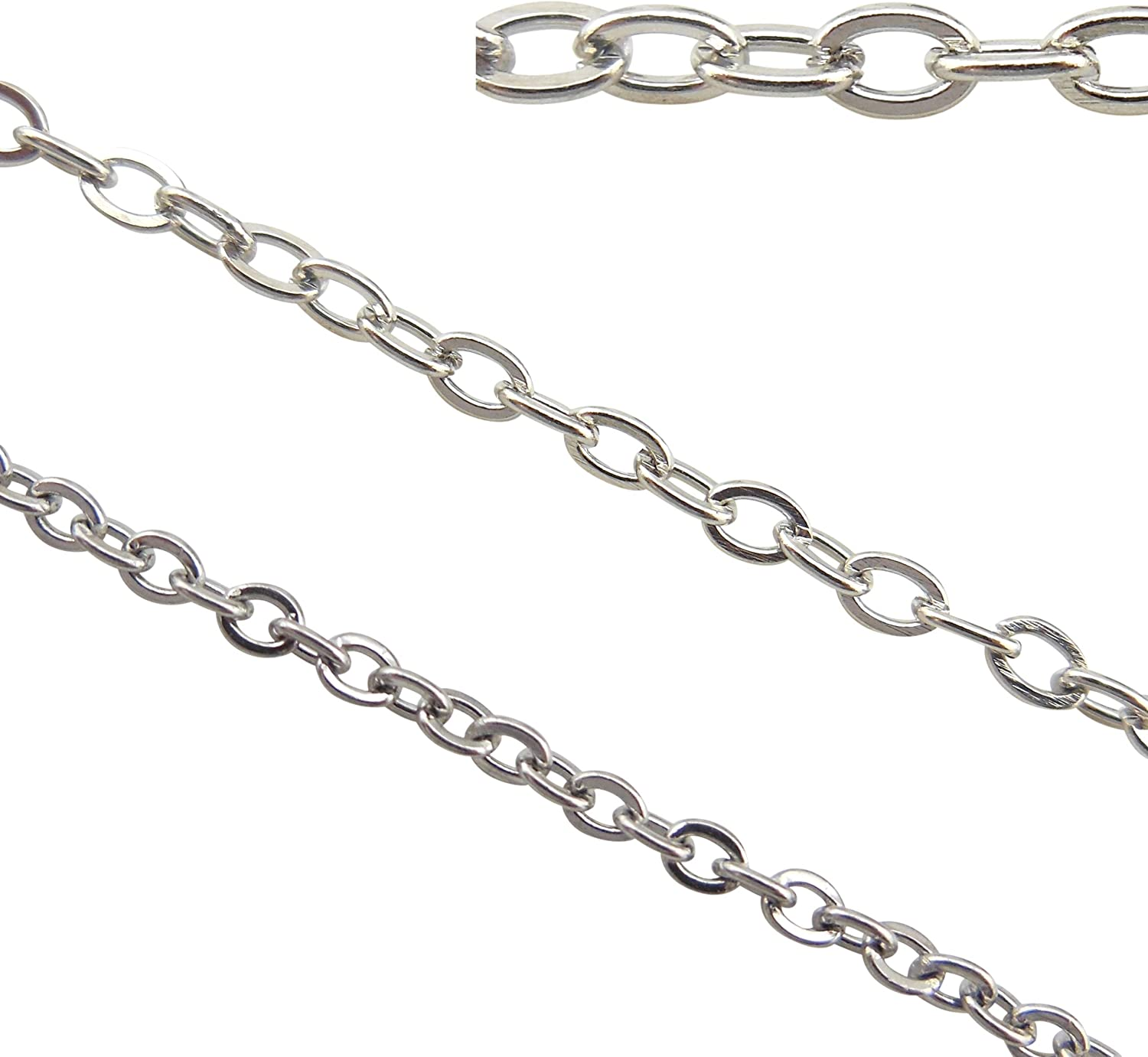 16.5ft 6mm Width Stainless Steel Rolo Cable Chains Findings Fit for Jewelry Making /&DIY SC-1027-E