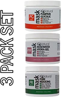 IQ Natural Facial Mask Set, [PUMPKIN AHA   PORE REDUCING   ROSWEWATER  Cleans & Exfoliates Skin, Spa Quality Facial Peel with AHA Enzyme