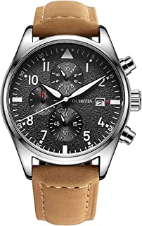 Fashion Aviator Mens Military Chronograph Watch Dress Black Leather Strap Date Quartz Analog Casual Watches