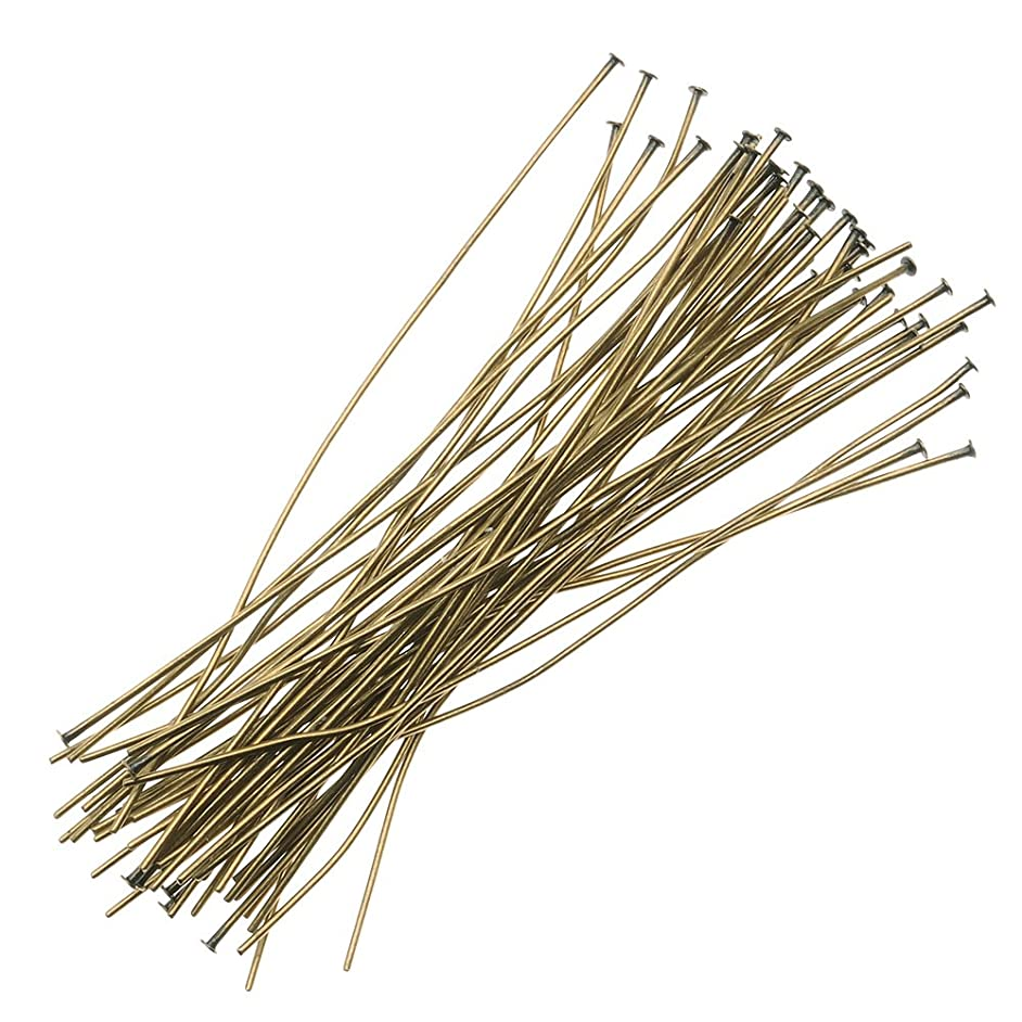 Beadaholique 50-Piece Head Pins, 22-Gauge, 2-Inch, Antiqued Brass