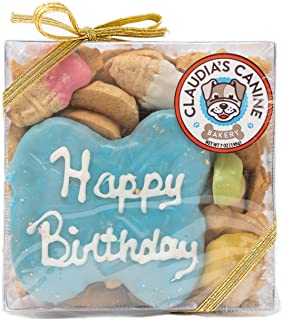 Claudia's Canine Bakery   Blue, Vanilla Flavor, Gourmet Dog Treats   No Preservatives, No Animal by-Products, No Fillers   Made in The USA   Net Wt. 7 oz   Happy Birthday Gift Assortment Dog Cookies