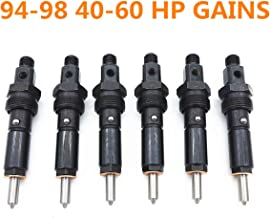 YouVbeen Performance Diesel Fuel Injector Set, Fits for 94-98 Dodge 5.9L Cummins 12V Stage 1: 40-60 HP Gains 14MM Thread Only 145 Degree Spray Pattern Nut Size is 614MM (6Pcs)