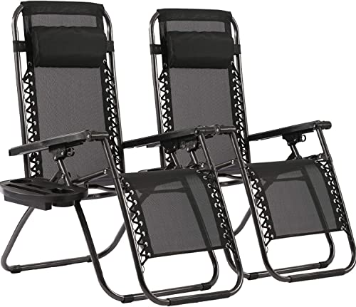 Zero Gravity Chairs Patio Chairs Lawn Chairs Patio Set of 2 with Pillow and Cup Holder Patio Furniture Outdoor Adjust...