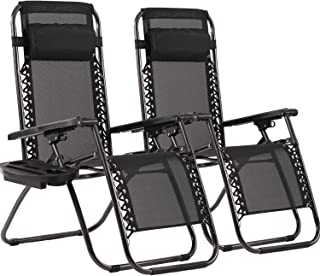 Zero Gravity Chairs Patio Chairs Lawn Chairs Patio Set of 2 with Pillow and Cup Holder Patio Furniture Outdoor Adjustable ...