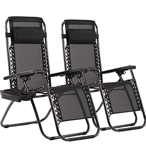 Zero Gravity Chairs Patio Chairs Lawn Chairs Patio Set of 2 with Pillow and Cup Holder Patio Furniture Outdoor Adjustable Dining Reclining Folding Chairs for Deck Patio Beach Yard