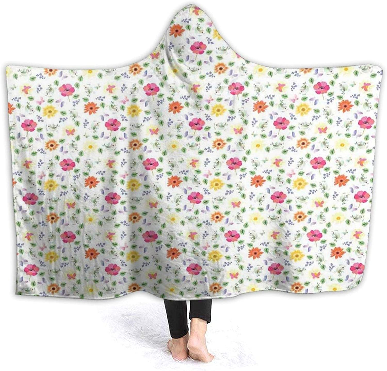 Hooded Blanket Charlotte Mall Anti-Pilling Max 71% OFF Flannel Butterfli Birds Funny Little