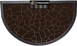 Gorilla Grip Durable Natural Rubber Door Mat, 35x23 Half Circle Heavy Duty Welcome Doormat for Indoor Outdoor Waterproof E...
