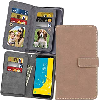 XYX Wallet Case [9 Card Slots][Vintage Scrub Leather][Kickstand Feature] Flip Phone Protective Case Cover for Samsung Galaxy Grand Prime Pro/J2 Pro 2018/J2 2018/J250 (Beige)