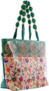 Kuber Industries Floral Design Silk Laminated Embroidered Women's Handbag (Green) - CTKTC23125