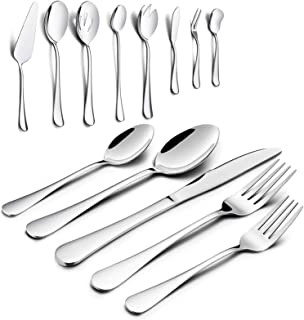 48 Pieces Silverware Set with Serving Set, HaWare Stainless Steel Modern Flatware Eating Utensils Set, Includes Forks/Spoo...