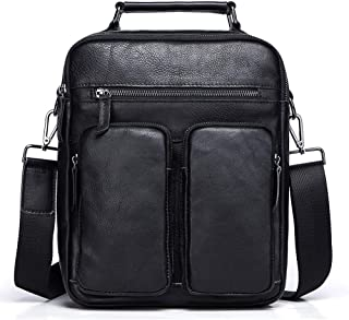 Men's Bag Fashion Leisure Men's Single Shoulder Bag Retro Slant Bag (Color : Black, Size : S)