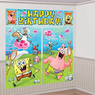 Amscan Silly Spongebob Birthday Party Scene Setter Wall Decorating Kit, Vinyl, 6', Pack of 5
