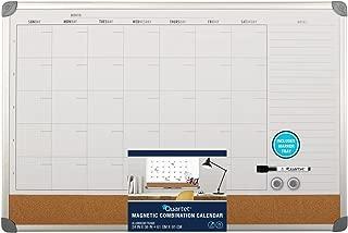 Quartet Combination Magnetic Whiteboard Calendar & Corkboard, 3' x 2', Combo White Board & Cork Board, Euro Style Aluminum Frame (73611)