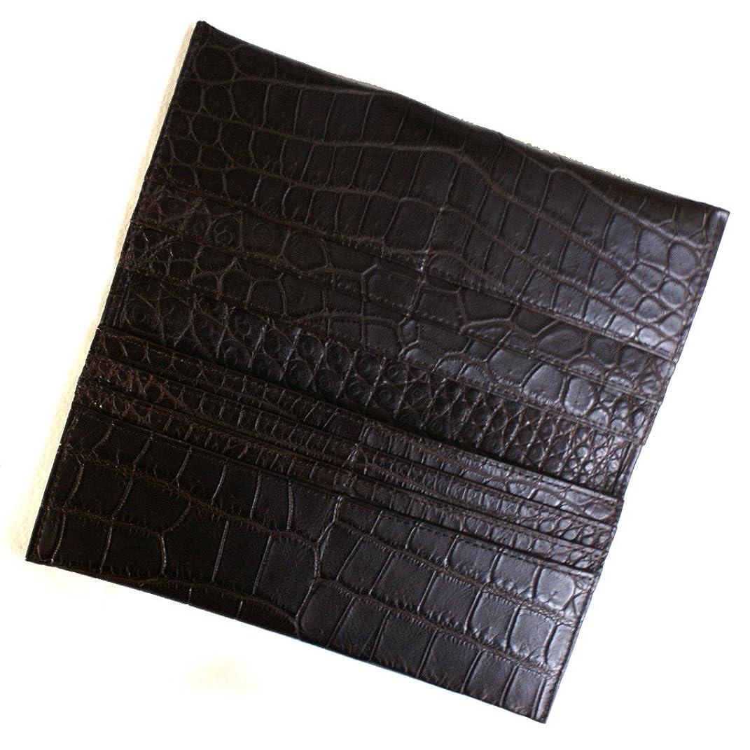 聡明絶望的なアルバムCRM1077-CHOCO クロコダイル マチなし長財布「小銭入れ無し」:マットチョコ