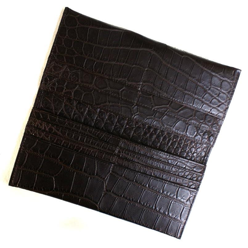 全く気絶させる大統領CRM1077-CHOCO クロコダイル マチなし長財布「小銭入れ無し」:マットチョコ